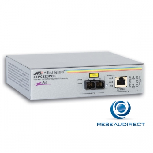 Allied Telesis AT-PC232/POE Bridge Ethernet Rj45 POE 15.4W 10/100baseT - Fibre multimode 100BaseFX 1310nm 2xSC 2Km