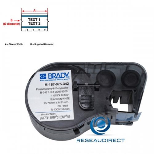 Brady BMP51-53 B342 M-125-075-342 131611 étiquettes Manchons Thermorétractables Blancs 80pc l=19.05 x H=6.10 mm BMP41