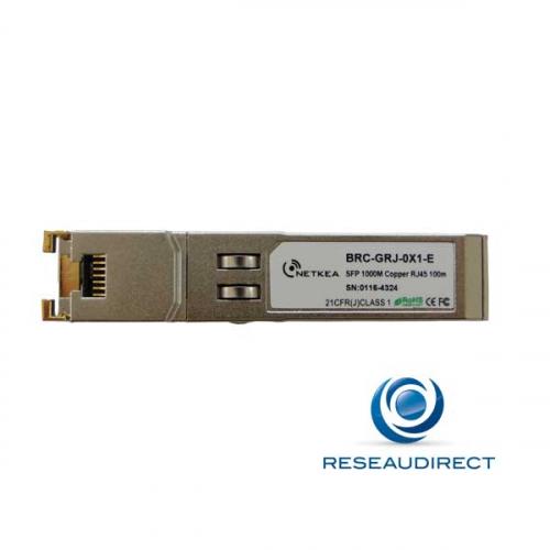 Netkea BRC-GRJ-0X1 transceiver SFP 1000base-T Compatible Brocade XBR-000190 RJ45 1000 Mbs 100m 0 +70°C