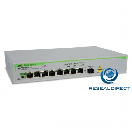 Allied Telesis AT-FS708/POE-50 Commutateur Fast Ethernet  ports Eco 10/100 Mbs POE 1 x SFP rackable 19p alim 220V interne