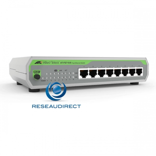 Allied Telesis AT-FS710/8 Centrecom Commutateur Fast Ethernet 8 ports 10/100 Mbs non rackable alim 220V interne