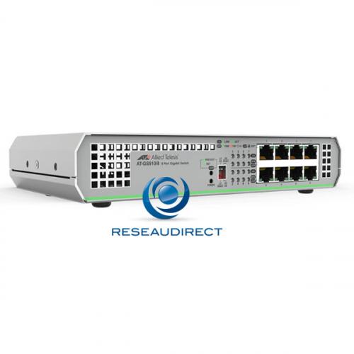 Allied Telesis AT-GS910/8-50 Centrecom Commutateur Gigabit Ethernet 8 10/100/1000 Mbs rackable en option alim 220V interne