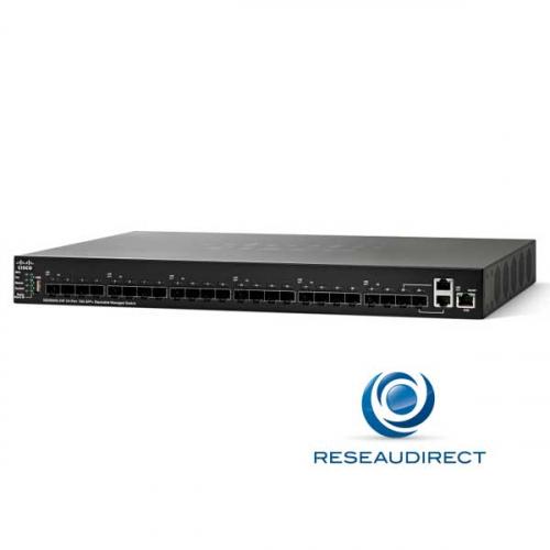 Cisco SG550XG-12S-12L Switch stackable full 10G 480 Gbps avancé 24 SFP+ 10G livré avec 12SFP+ 10SR et 12SFP+ 10LR Netkea