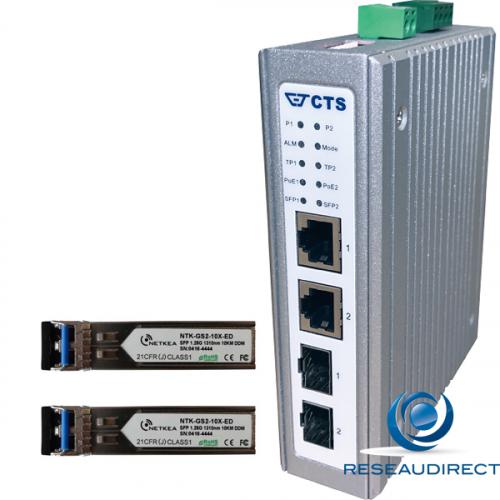 CTS IPC-3114-POE-10X Switch industriel 1x1000Base-T POE 30W 1x1000BaseT POE 60W 2xSFP 1000LX 10km 2x48VDC -40/+75°C