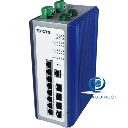 CTS IPS-3112-POE++ Switch industriel 12 ports L2+ Ring 8x1000Base-T HI-POE++ 480 Watts 4x-SFP 100-X/1000-X double alim 48VDC -40/+75°C