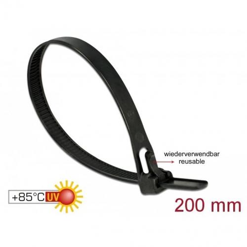 Pack de 100 serre-câbles réutilisables 200x7.5mm