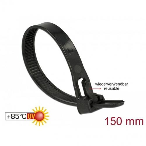 Pack de 100 serre-câbles réutilisables 150x7.5mm