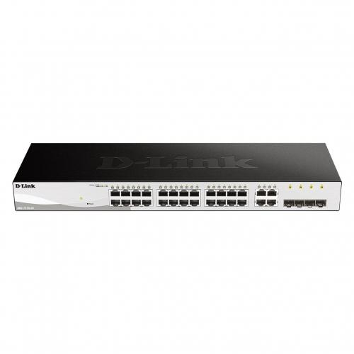 Dlink DGS-1210-28 Switch 24 ports Gigabit RJ45 administrable Web SMART L2+ Faible profondeur 14 cm 4 Combo RJ45 / SFP Fanless Green
