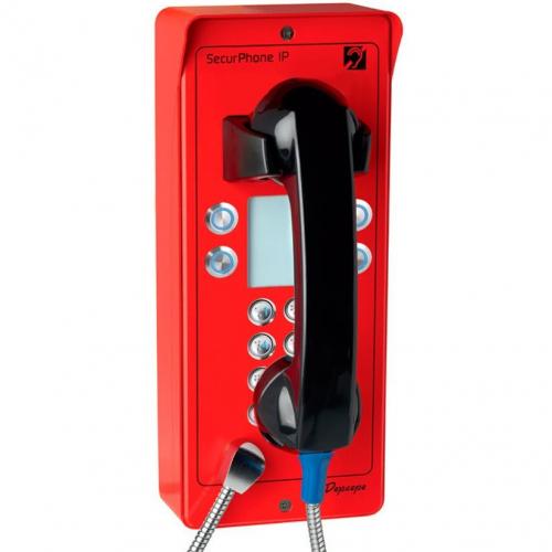 Téléphone d'urgence ext avec clavier + 4 mém rouge