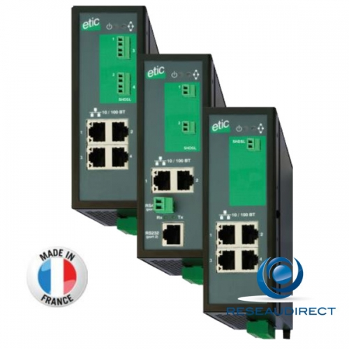 ETIC Telecom XSLAN+2400 Switch extenseur SHDSL Fast Ethernet multi-point 10/100BaseTX 100Mbs industriel -20/+70°C