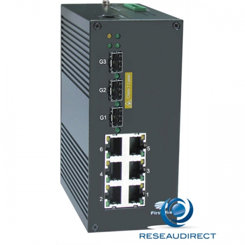 Firstmile IDS509W switch industriel administrable avec ring 6x10/100Mbs 3Giga 3xSFP 1000mbs rail Din Métal -40 +75°C