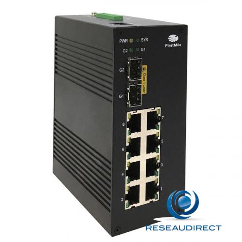 Firstmile IDS510W switch industriel administrable avec ring 7x10/100Mbs 3Giga 1xRJ45 2xSFP 1000mbs rail Din Métal -40 +75°C