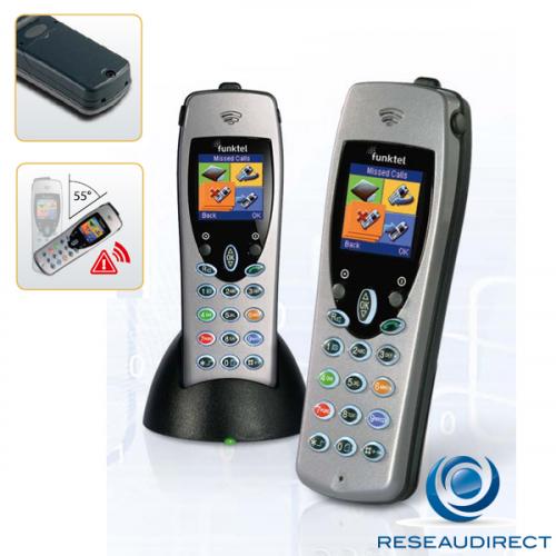 Funktel FC4 LF SET Kit Téléphone DECT industriel durci IP65 norme GAP PTI Dead Man Switch appel d'urgence Ref 5.010.840.100