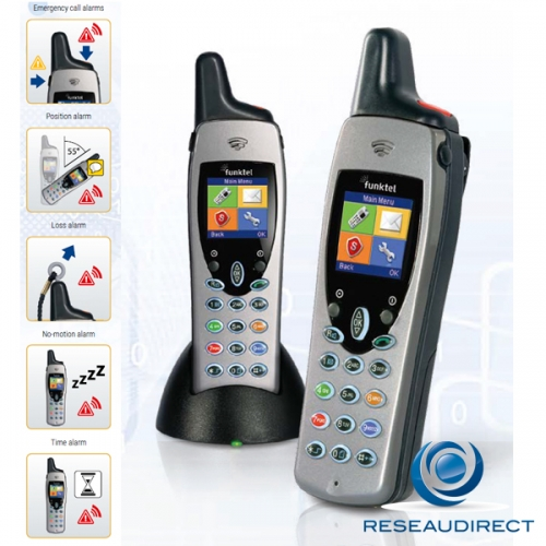 Funktel FC4 S SET Kit Téléphone DECT industriel durci IP65 norme GAP PTI 8 alarmes Géolocalisation DSS  Ref 5.010.860.100