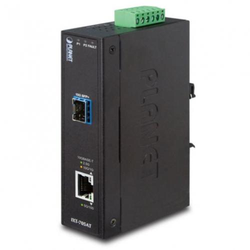 Planet IXT-705AT Convertisseur 10 Gigabit industriel avec 1 RJ45 10Giga 1x SFP+ 10Gbase-X -40/+75°C
