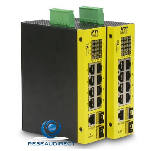 KTI KGS-1060 switch industriel Gigabit 6xRJ45-10/100/1000Mbs 2xCombos SFP/RJ45 Ring Din métal -40 +70°C alim jack ou TB-5P +6.5V / 60VDC
