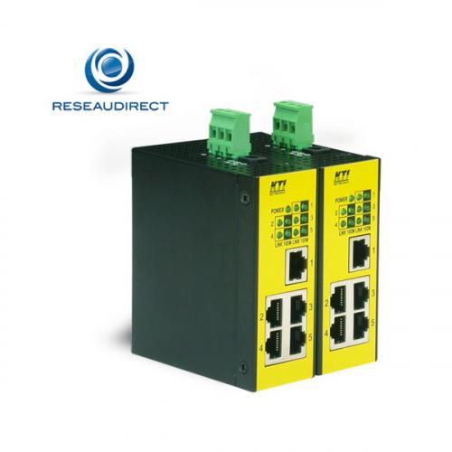 KTI KFS-0540 switch industriel Fast Ethernet 5 ports 10/100 Mbs rail Din boitier métal -20 + 70°C alim jack ou TB-5P +7V / 30VDC