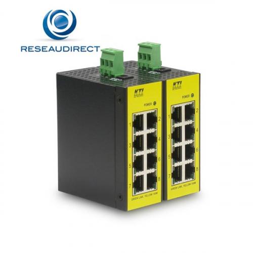KTI KFS-0840 switch industriel Fast Ethernet 8 ports 10/100 Mbs rail Din boitier métal -30 + 70°C alim jack ou TB-5P +7V / 30VDC