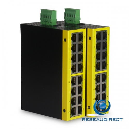 KTI KFS-1640-H switch industriel Fast Ethernet 16 ports 10/100 Mbs rail Din boitier métal -20 + 70°C alim TB-5P +110VDC 90-150VAC