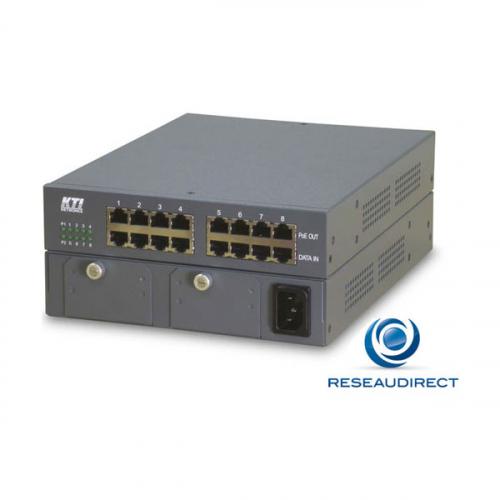 KTI KPOE-800-2P Midspan compact POE 8 ports 100/1000 Mbs budget 120 watts (15 watts par port) - Une pièce en stock