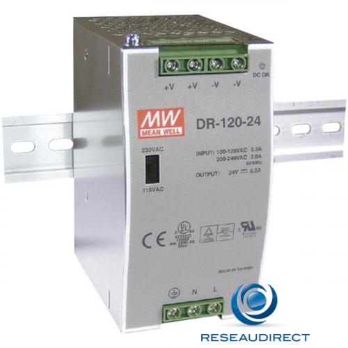 Meanwell DR-120-24 Alimentation 24 VDC rail DIN 120W/5A entrée 88-132 VAC ou 176-264 VDC températures -10 à 60°C