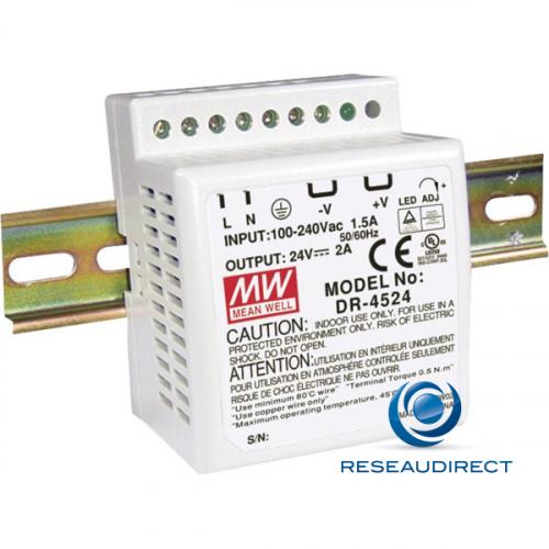 Meanwell DR-45-24 alimentation 24 VDC rail DIN 48W/2A entrée 85-264 VAC 120-370 VDC températures -10 à 50°C