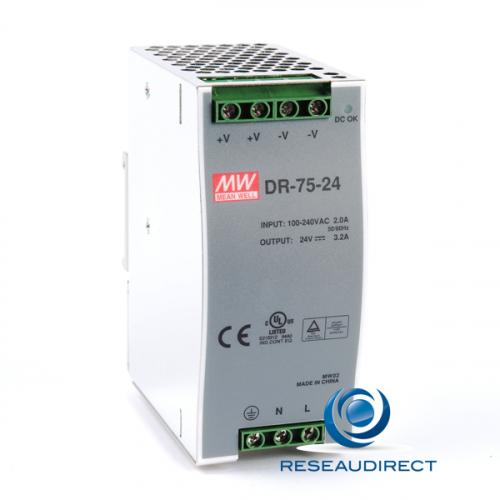 Meanwell DR-75-24 Alimentation 24 VDC rail DIN 76.8W/3.2A entrée 85-264 VAC 120-370 VDC températures de -10 à 60°C
