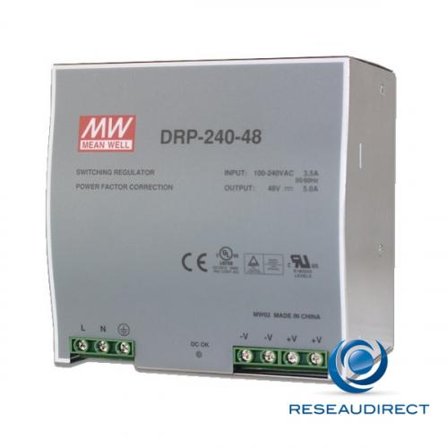 Meanwell DRP-240-48 Alimentation 48 VDC rail DIN 240W/5A entrée 88-132 VAC ou 176-264 VDC températures -10 à 60°C