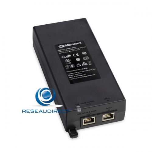 Microsemi PD-9001-25GR/AC Injecteur 1 port 2.5 Gigabit/s RJ45 30 watts Midspan POE+ 802.3at mono-port 220V