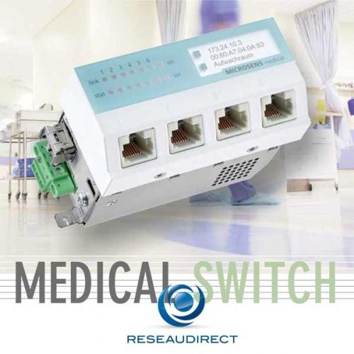 Microsens MS445207PM-48G6+ micro-switch médical POE+ IEC/EN 60601-1 Ethernet 45x45 4xRJ45 1G 2xSFP 100/1000Mbs SD Card RS232 horizontal 48VDC