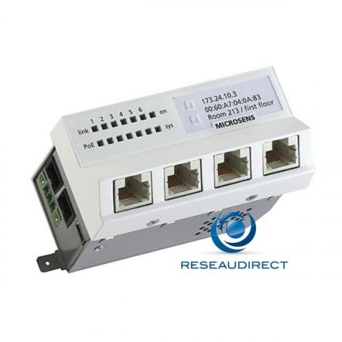 Microsens MS440202PM-48G6+ Switch 45x45 4x1000TX PoE+ 1x1000LX SC Monomode 1310nm 1x10/100/1000TX PoE+ modèle horizontal 44 57 VDC