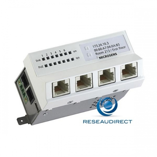 Microsens MS450331PM-48G6+ Switch POE+ 45x45 5 ports RJ45 10/100/1000 Mbs 1x100FX SC Multimode 1310nm 2km Slot SD RS232 horizontal alim 48DVC