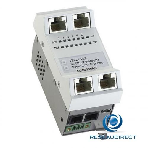 Microsens MS440219PM-48G6+ Switch 45x45 4x1000TX PoE+ 1xSFP 100/1000 Mbs 1 Uplink RJ45 modèle vertical 44 57 VDC