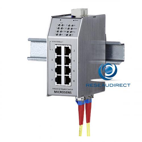 Microsens MS650851M switch industriel administrable ring 7x10/100Mbs 1xGiga RJ45 2xGiga FO Multi 1000SX 2xSC rail Din -20 +60°C