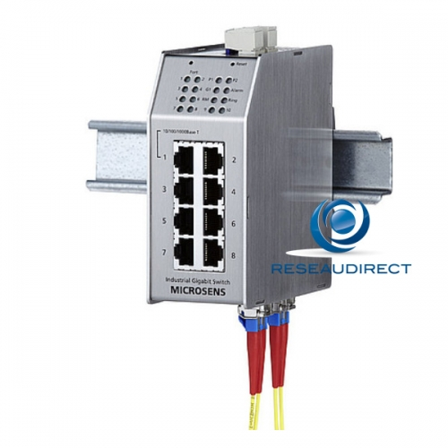Microsens MS650852M switch industriel administrable ring 7x10/100Mbs 1xGiga RJ45 2xGiga FO Mono 1000LX 10km 2xSC rail Din -20 +60°C