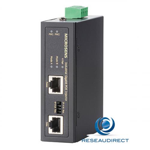 Microsens MS657032X injecteur industriel POE++ 60W-72W rail DIN max. 36W à 56V DC voltage 44 à 56 VDC redondant -40/+75°C