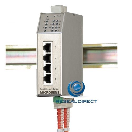 Microsens MS650502M Switch industriel paramétrable 4x10/100Base-TX 2x100Base-FX anneau optique MultiMode 1310nm 2xSC 2km