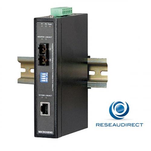 Microsens MS655060X Convertisseur Industriel rail DIN Rj45 10/100baseT Fibre multimode 100BaseFX 1310 nm 2xSC 2Km -40/+75°C