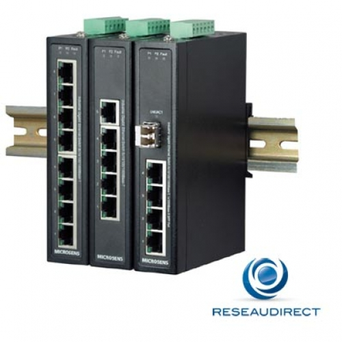 Microsens MS657203X Switch industriel 4x10/100/1000Base-T 2xSlot SFP Giga 1000-X double alim alarme -40/+75°C