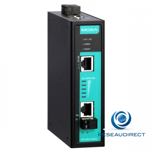 Moxa IEX-402-SHDSL Bridge-modem extender SHDSL Fast Ethernet paramétrable 10/100BaseTX 100Mbs industriel -10/+60°C