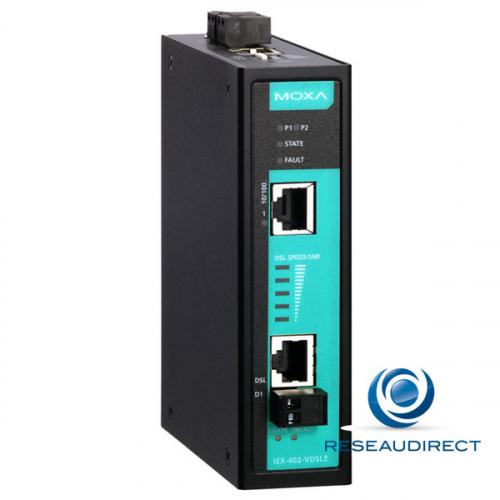 Moxa IEX-402-VDSL2 Bridge-modem extender VDSL2 Fast Ethernet paramétrable 10/100BaseTX 100Mbs industriel -10/+60°C