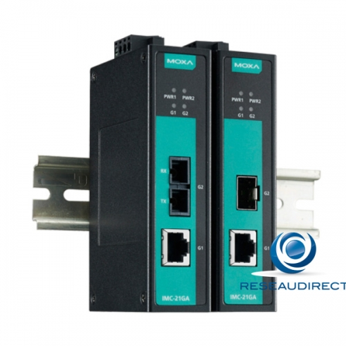 Moxa IMC-21GA convertisseur Bridge Industriel rail DIN Rj45 10/100/1000baseT Slot SFP Gigabit 100/1000X -10/+60°C