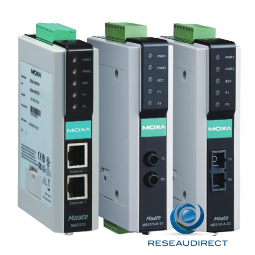 Moxa MGate MB3170-M-SC passerelle communication industrielle Modbus TCP Fibre Multi 100FX SC vers 1 x RS-232/422/485