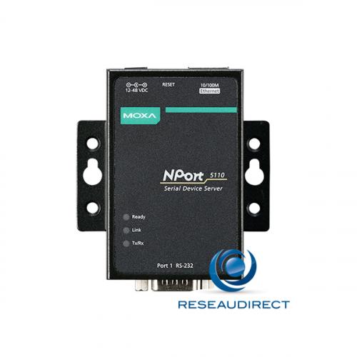 Moxa Nport 5110 serveur de port série sur IP 1 x RS-232 DB9 male Ethernet 10/100M 15KV ESD 110V-230V 0/60°C