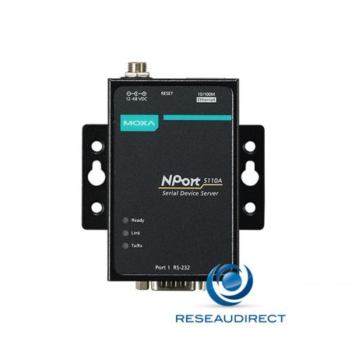 Moxa Nport 5110A serveur de port série sur IP 1 x RS-232 DB9 Ethernet 10/100M 15KV ESD 0.5KV serial surge 12-48VDC 0/60°C