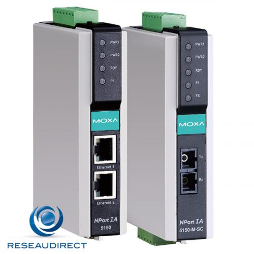 Moxa Nport IA5150 serveur de port série industriel rail DIN 1 Port RS-232/422/485 vers Ethernet TCP-IP 10/100 Mbs 12-48 VDC