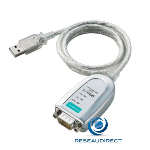 Moxa Uport 1110 convertisseur compact USB 2.0 vers port série RS-232 (DB9 mâle) avec câble 0/55°C