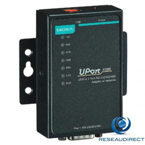 Moxa Uport 1150I convertisseur USB 2.0 port série RS232-422-485 avec câble Boitier métal Opto isolé 2kV 0/55°C