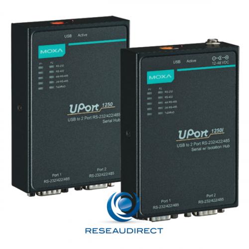 Moxa Uport 1250 convertisseur USB2 2 x ports série RS232-422-485 Boitier métal protégé surtensions 15 kV ESD 0/55°C
