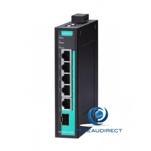 Moxa EDS-G205-1GTXSFP Switch industriel Gigabit 5x10/100/1000Base-T 1xSlot SFP Giga 1000-X rail DIN double alim -10/+60°C